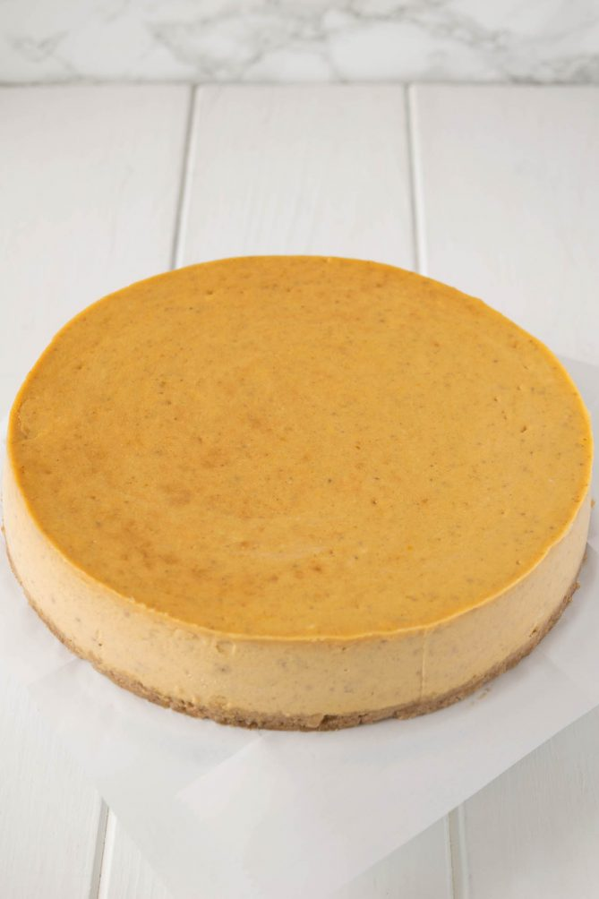 Pumpkin cheesecake perfectly smooth with no toppings