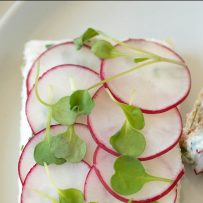 Pretty slices of radish top a slice of bread spread with herb butter