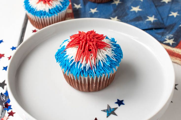 The cupcake on a white plate with red white and blue frosting to emulate a firework