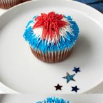 2 red velvet cupcakes frosted in red white and blue