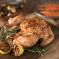 Rosemary roasted chicken with delicious gravy fresh out of the oven