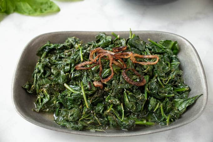 Sautéed Spinach with Crispy Shallots