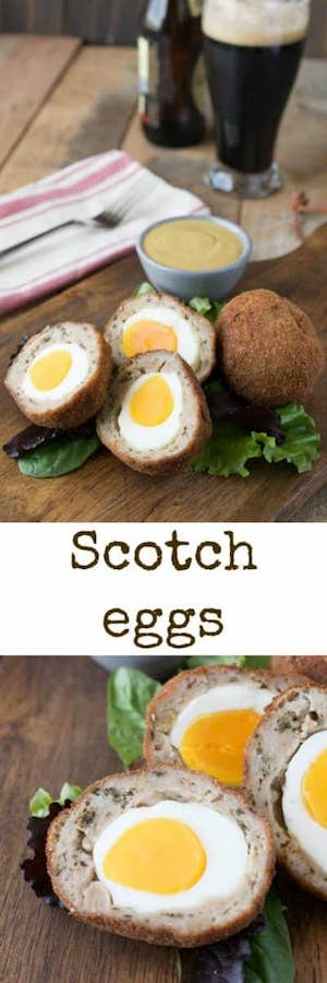 Scotch eggs are hard-boiled eggs wrapped in sausage meat, breaded and fried. Served with a delicious mustard dipping sauce, this is quintessential British fare. Who said British food is bland? #scotcheggs #british #pubfood