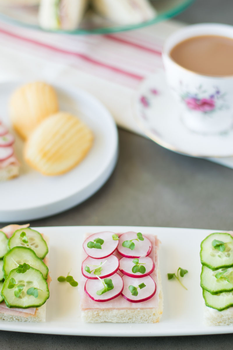 This selection of tea sandwiches is comprised of dainty finger sandwiches that are the perfect complement to an elegant afternoon tea.