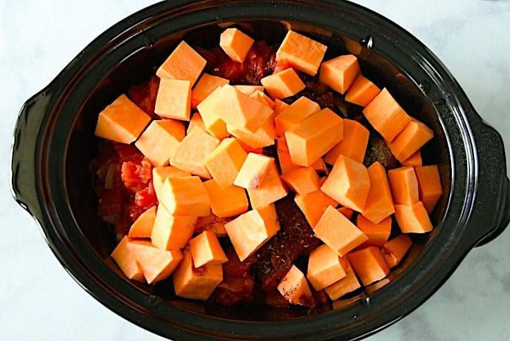 Diced sweet potato are added