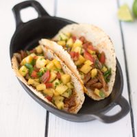 Slow cooker pineapple pepper carnitas tacos