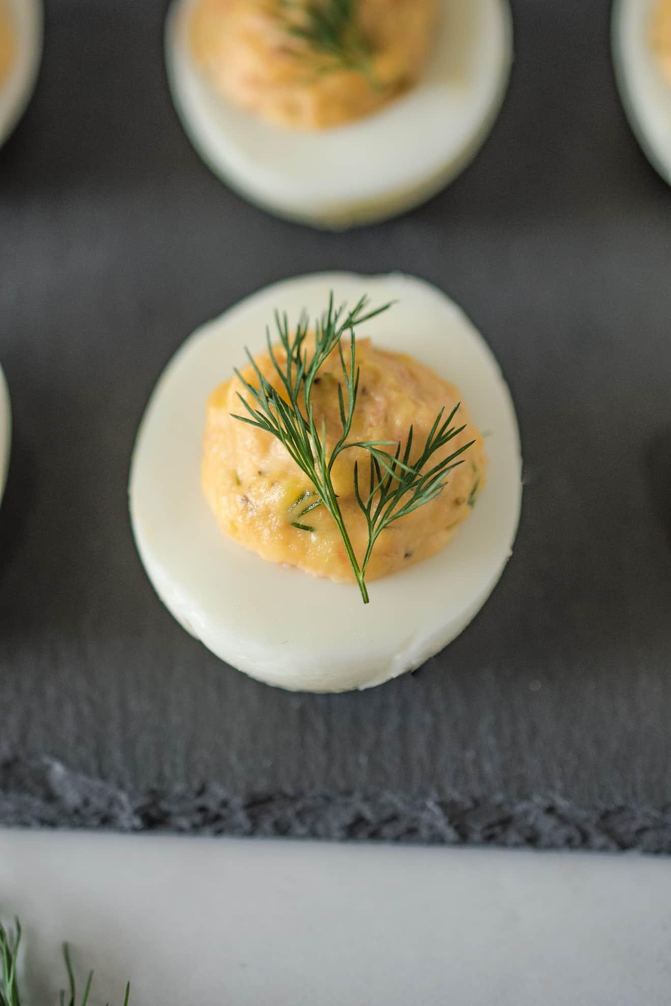 A closeup of a deviled eggs