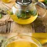 A glass teapot and glass mug with herbal teat