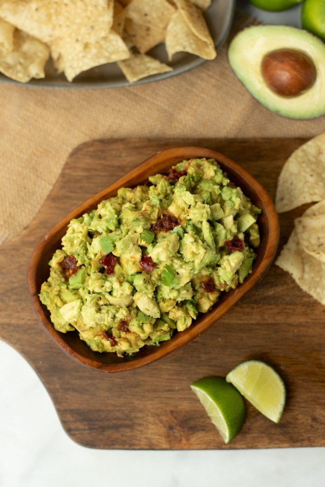 Spicy chipotle pepper guacamole viewed from overhead