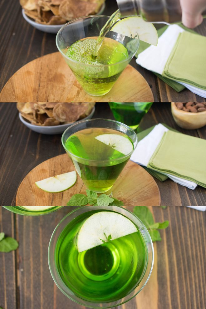 Pouring the green cocktail and serving