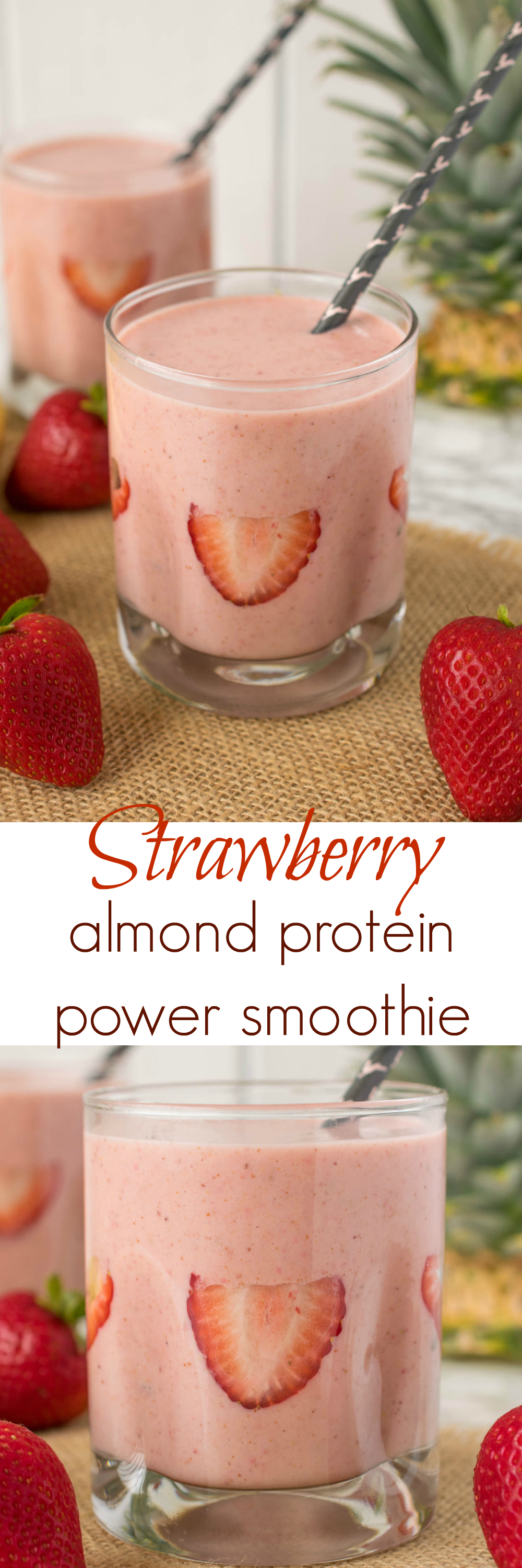 Strawberry, almond protein power smoothie. Fresh strawberries, almond butter, fresh pineapple and LALA smoothies