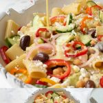 2 pictures of the pasta salad