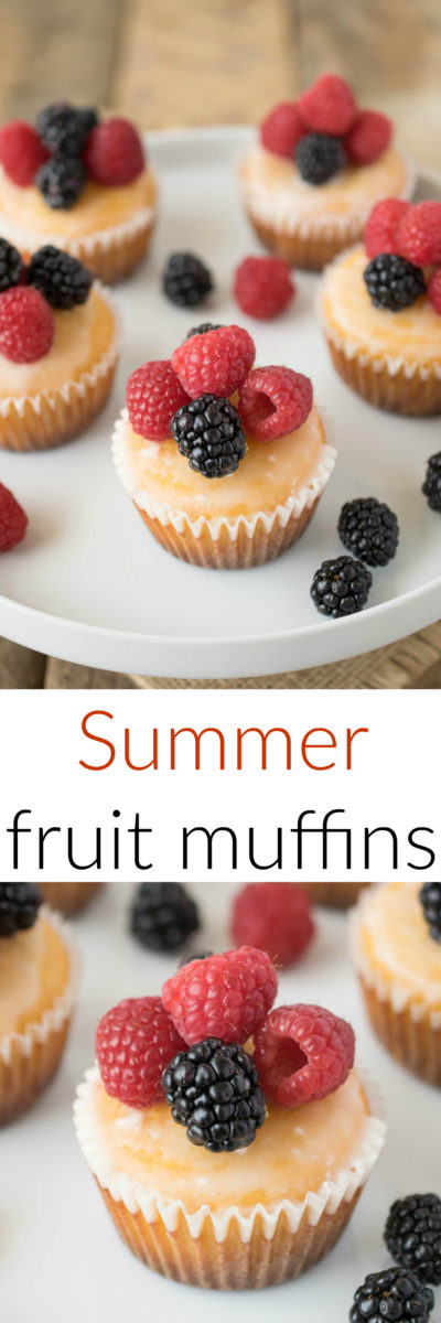 Summer fruit muffins are the perfect warm weather breakfast. Moist muffins with added lemon zest and juice topped with a lemon glaze and berries, all the fresh flavors of summer.