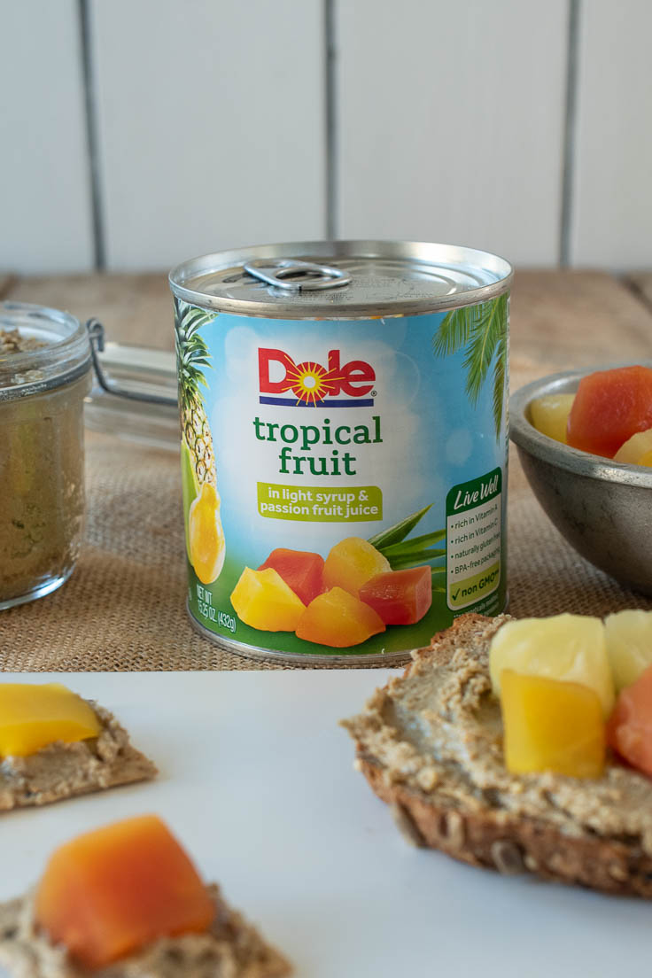 A can of Dole tropical fruit with sunflower butter