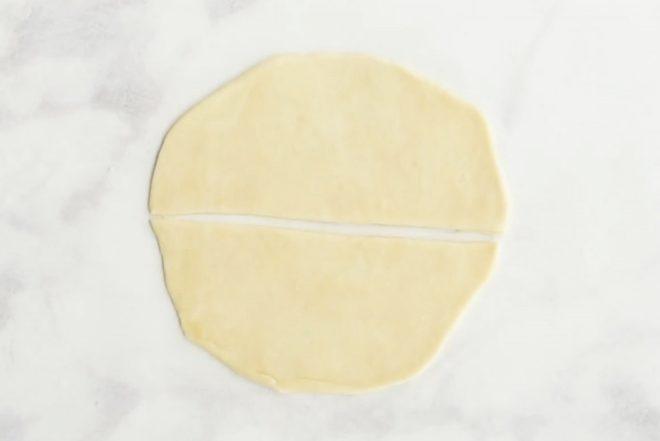 Samosa dough cut in half