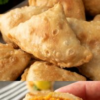 A closeup of the inside of a samosa with sweet potato and pea