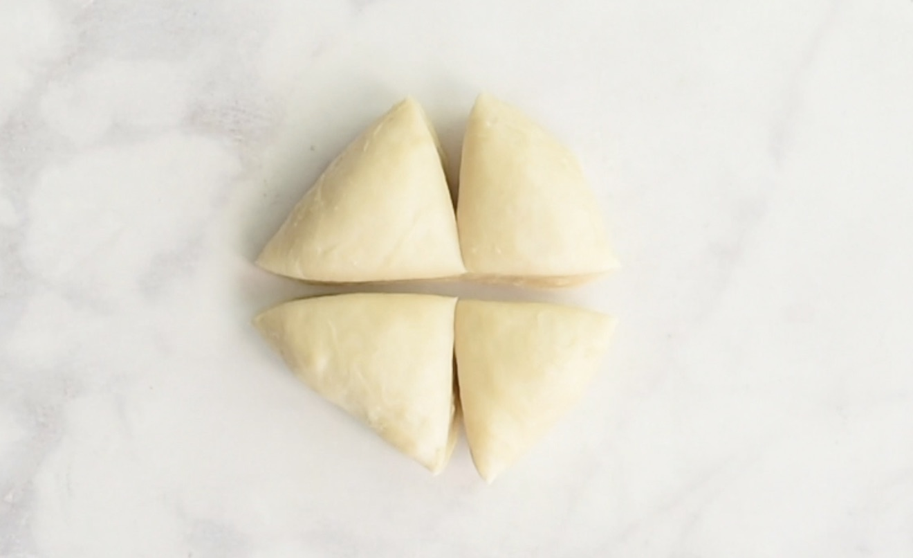 Samosa dough cut into 4 pieces