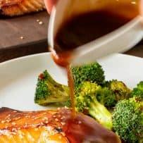Salmon glazed with teriyaki salmon and sesame seeds