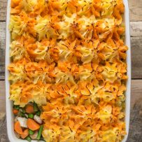 Thanksgiving leftovers turkey shepherd's pie in a casserole dish