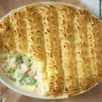 The Easiest British Fish Pie with some mash removed showing the filling