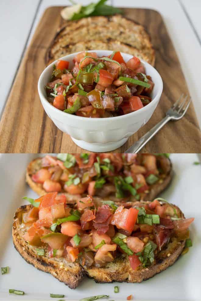 A bowl of chopped tomato and a tomato bruschetta