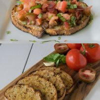 Tomato and crispy prosciutto bruschetta and toasted slices of bread with fresh tomatoes on a board