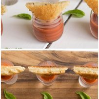 A selection of mini glasses filled with tomato soup topped with mini grilled cheese sandwiches