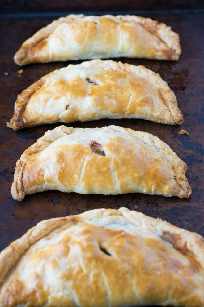 4 Cornish pasties out of the oven