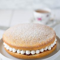 Victoria Sponge Cake dusted with powdered sugar