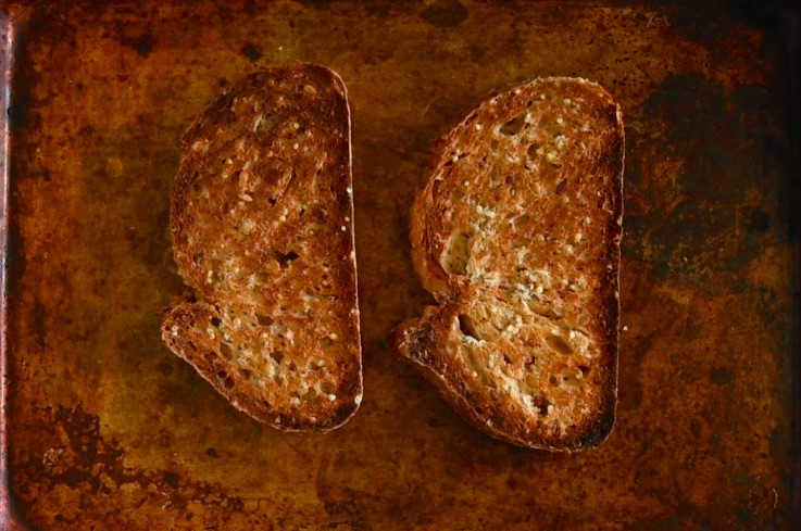 Grain bread toasted on a baking sheet