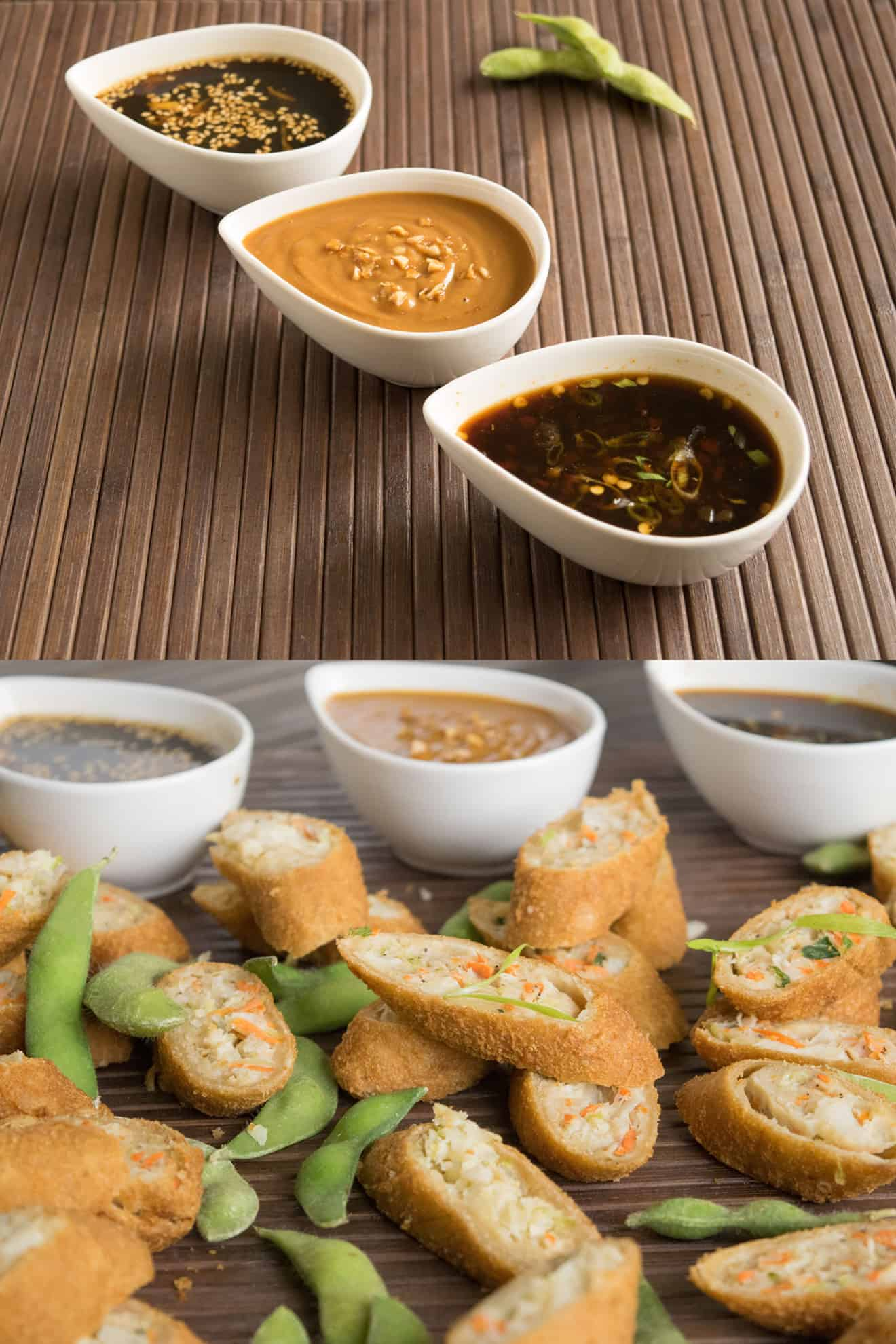 Cut spring rolls with Asian dipping sauces