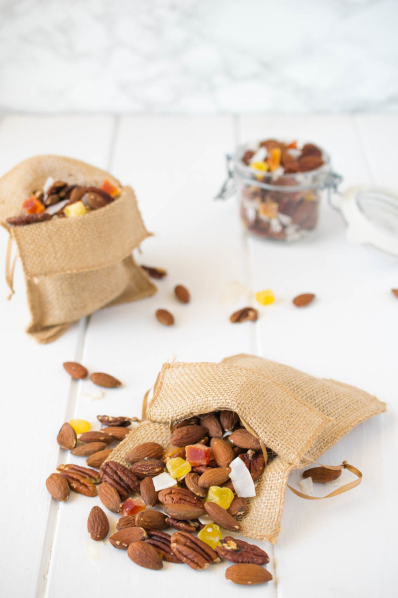 Tropical trail mix. A delicious combination of roasted almonds and pecans, dried mango, pineapple and coconut. This is the perfect anytime snack.