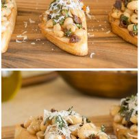 Grating Parmesan cheese over bean crostini and one with a bite taken out