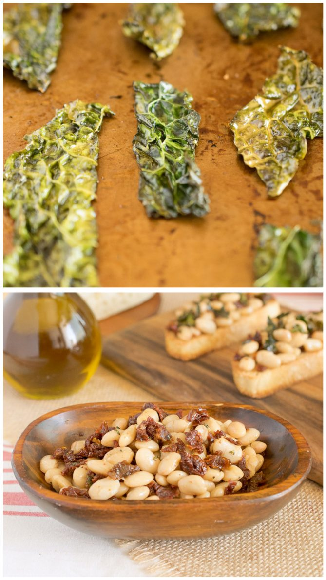 Crispy kale on a baking sheet and a wood bowl of cannellini beans and sun-dried tomatoes