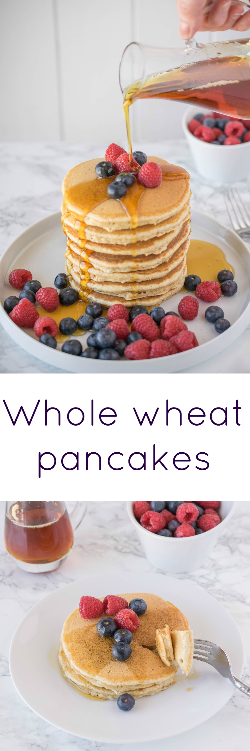 Whole wheat pancakes. Light, fluffy and moist with a little honey in the batter for sweetness.